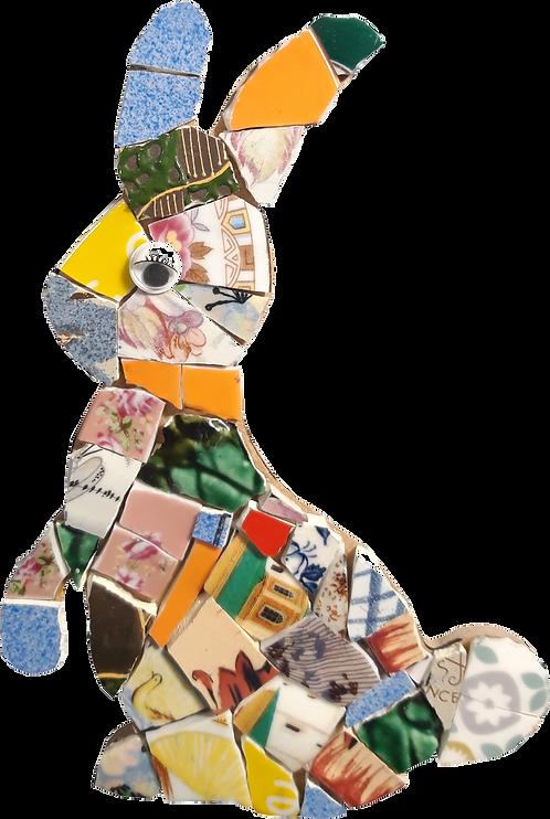 kit mosaique ecologique en forme de lapin fabriqué avec de la vaisselle recyclée