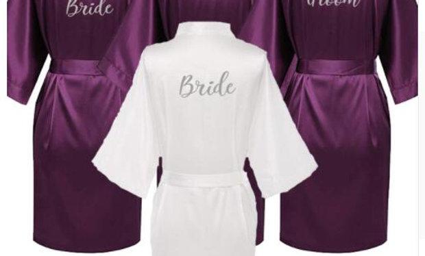 Purple Robe Silver Writing  Wedding Short Bridesmaid Satin