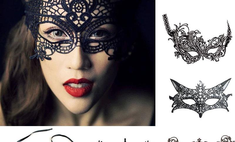Hollow Out Black Lace Mask 1/2pcs