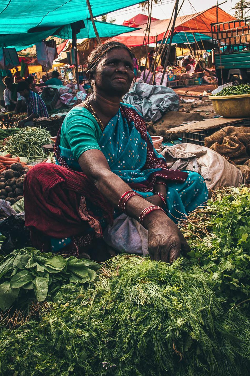 woman sells at the market