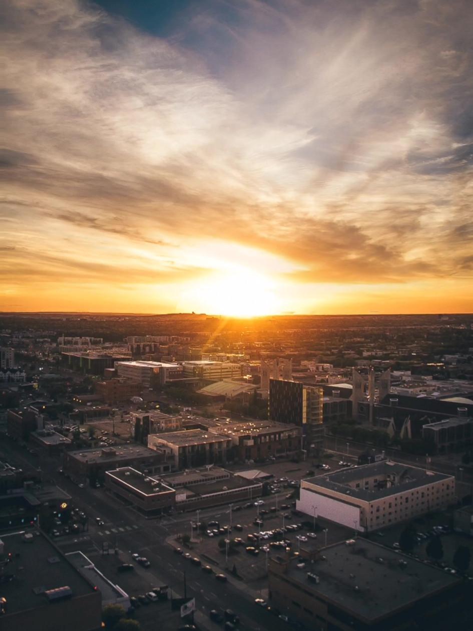 fox tower sunset