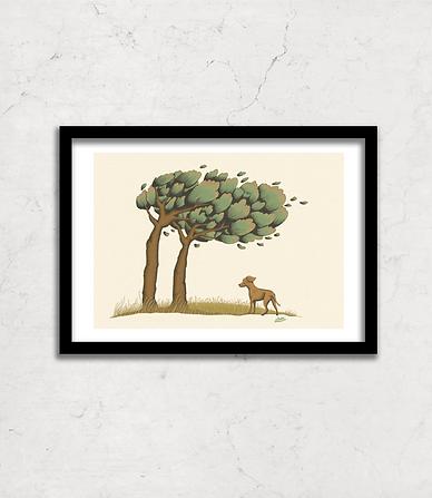 Dog under windy tree drawing, illustration