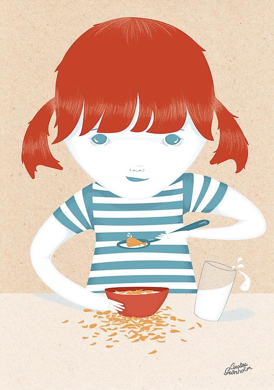 A drawing by Carolina Grönholm. Breakfast girl.
