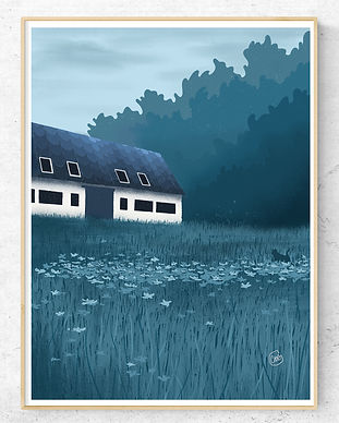 House at night with cat in high grass poster print