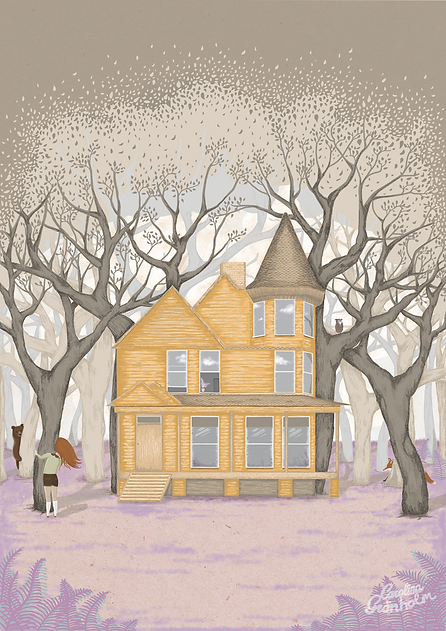 Spooky forest house drawing. Peekabo with bear and girl illustration.