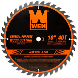 WEN 10-inch 40 Tooth Carbide Tipped Circular Saw Blade