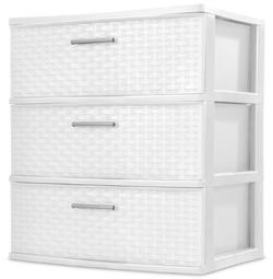 Sterilite Plastic 3 Drawer White Color Weave Tower Dresser