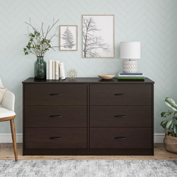 Mainstays  6 Drawer Expresso Brown Color Classic Dresser