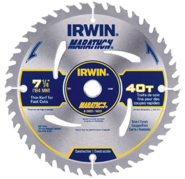 IRWIN 7 1/4-inch 40 teeth Dia Marathon Circular Saw Blade