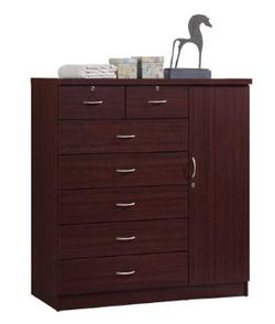 Hodeah 7 Drawer Mahogany Color Jumbo Dresser