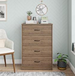 Mainstays  4 Drawer Rustic Oak Color Classic Dresser