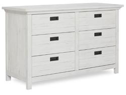 EVOLUR 6 Drawer Weathered White Color Waverly Dresser