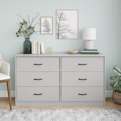 Mainstays  6 Drawer Dove Gray Color Classic Dresser