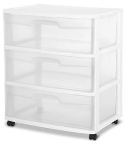 Sterilite Plastic 3 Drawer White Color Cart Dresser