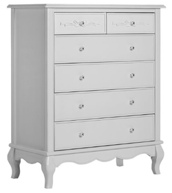 EVOLUR 5 Drawer Akoya Grey Pearl Gray Color Aurora Dresser
