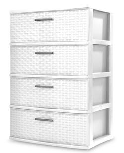 Sterilite Plastic 4 Drawer White Color Dresser