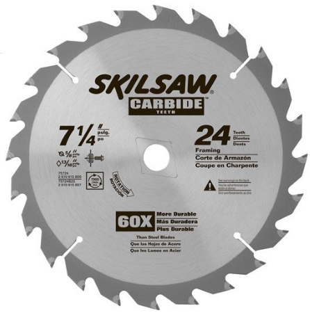 SKIL 7 1/4-inch 24 tooth Carbide Tipped Circular Saw Blade