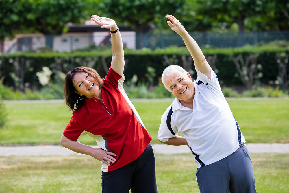 Active Senior Couple exercising