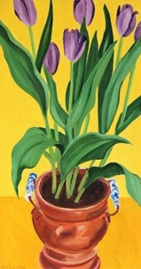 Purple Tulips_Brass Pot by Janet Alling