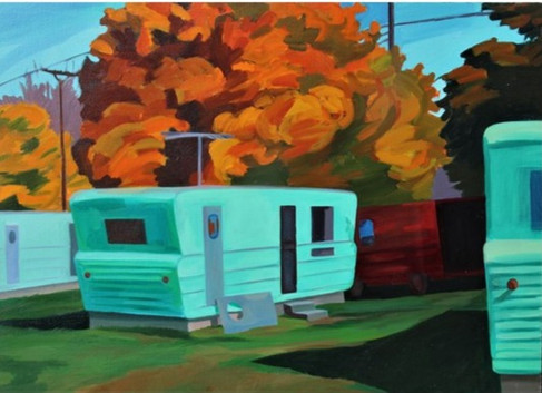Autumn Trailers and Red Truck