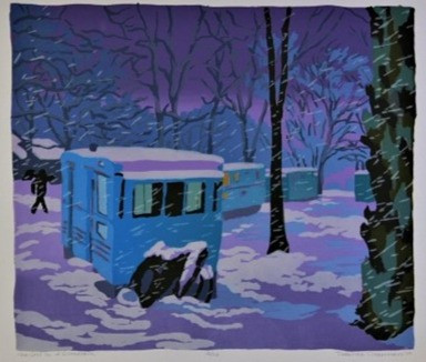 Trailers in a Snowstorm by Deborah Clear