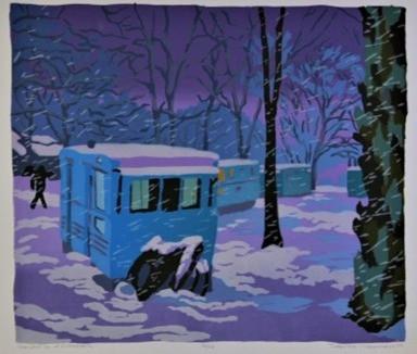 Trailers in a Snowstorm by Deborah Clear