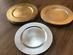 Gold and Silver Plastic Charger Plates