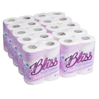 40 White Triple Quilted Bliss Toilet Rolls