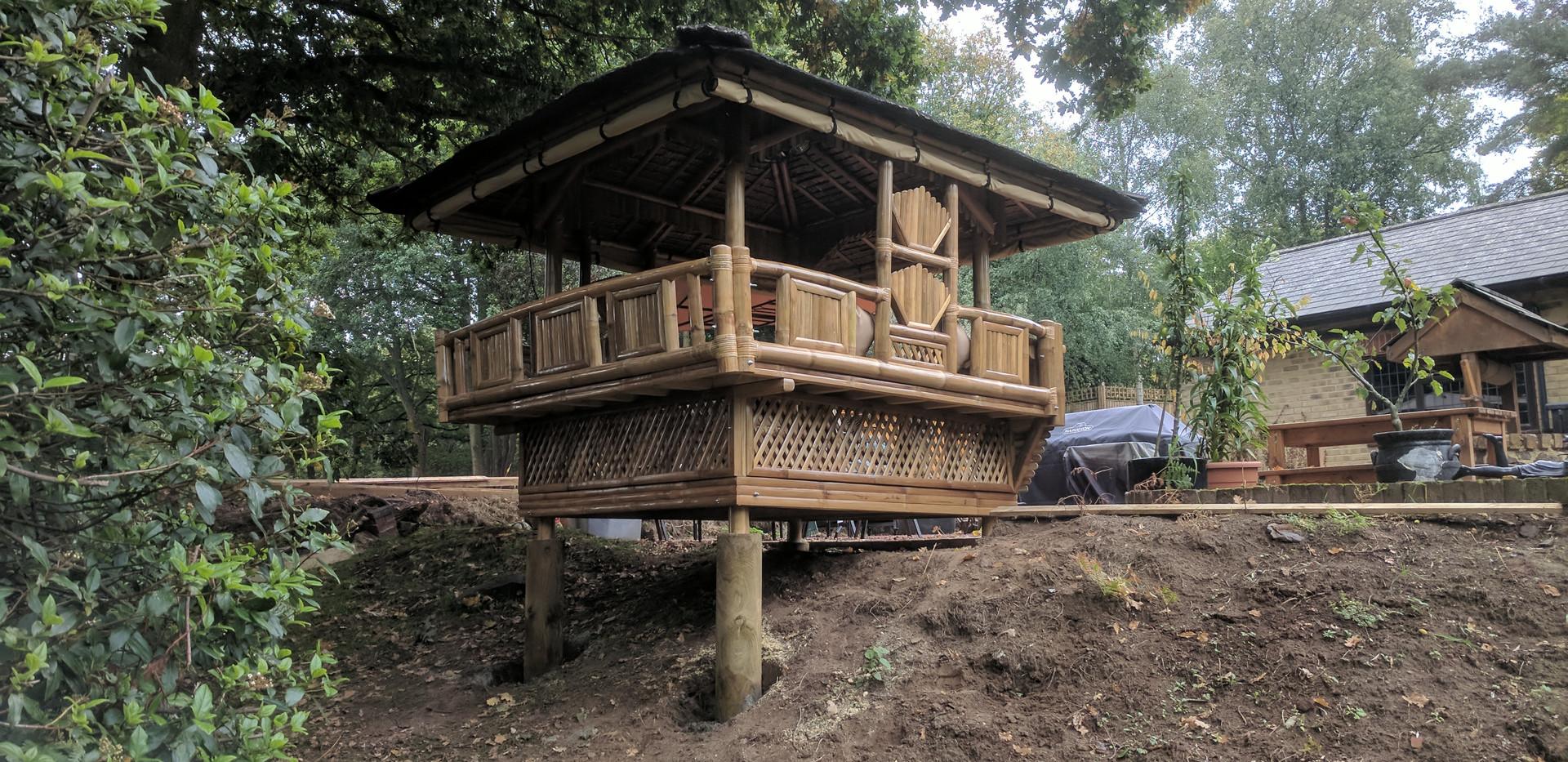 Bamboo gazebo placed on stilts