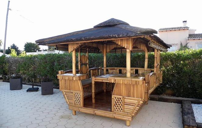 Luxury Bamboo Gazebo around a Spainish pool