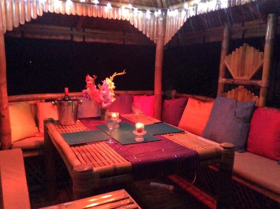 Luxury Bamboo Gazebo at night