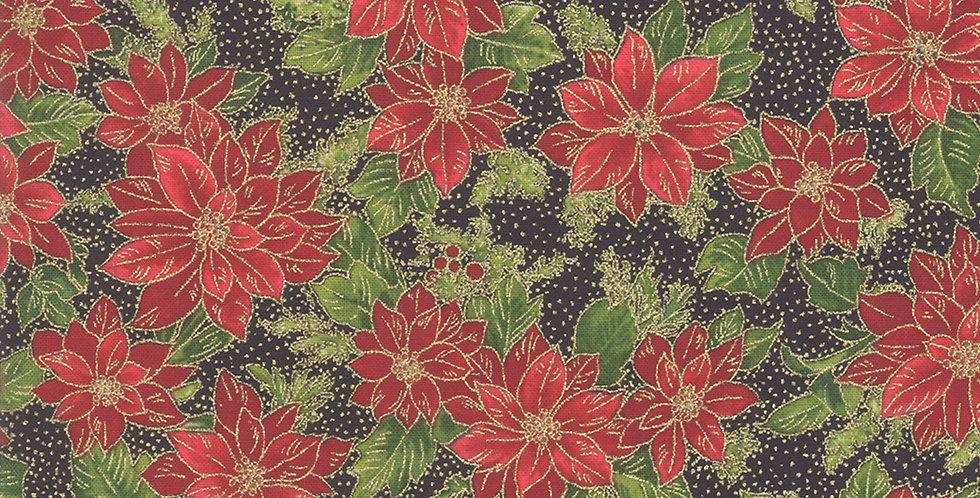Moda Poinsettias & Pine Metallic - 33513 14M Ebony