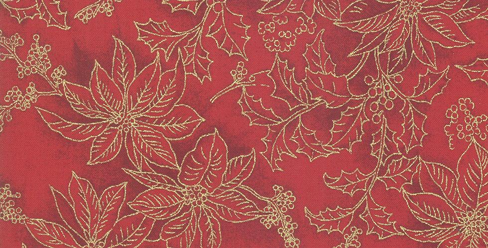 Moda Poinsettias & Pine Metallic - 33516 12M Crimson