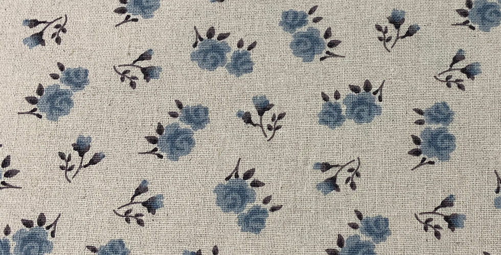 Stof Linen - Beige with Blue Flowers