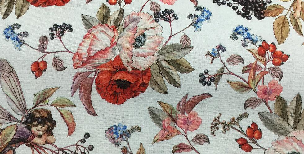 Michael Miller Fabrics - Elderberry Flower Fairies - White DDC8060