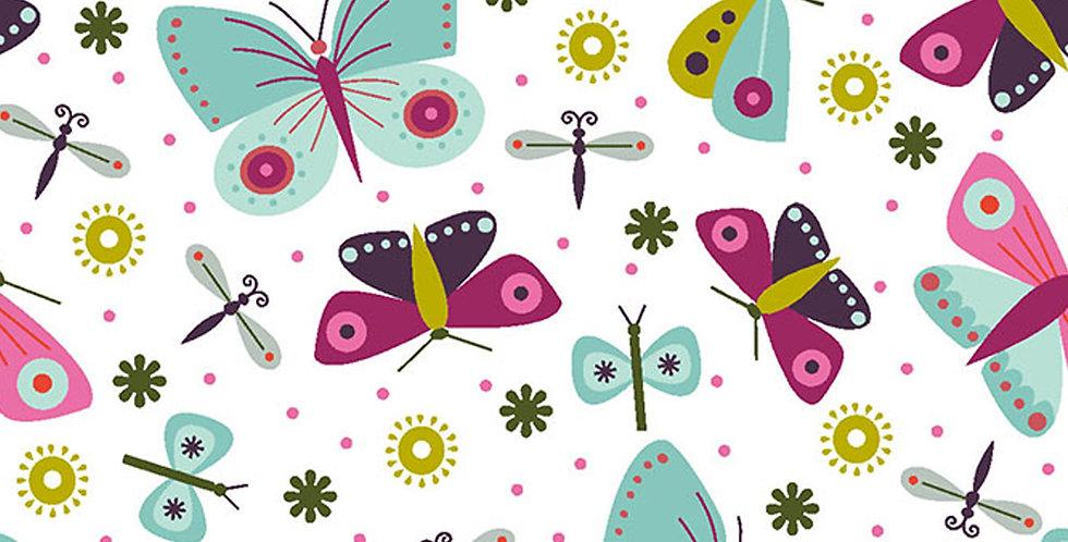 Clothworks Summer Sampler Y2991-1 White Butterfly by Nancy Nicholson