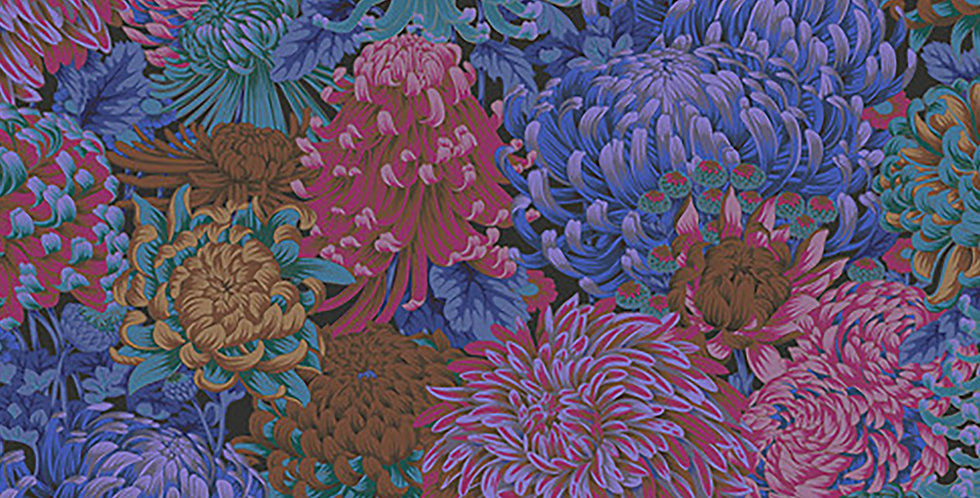 Kaffe Fassett Collective - PWPJ107 Hokusai's Mums - Dark