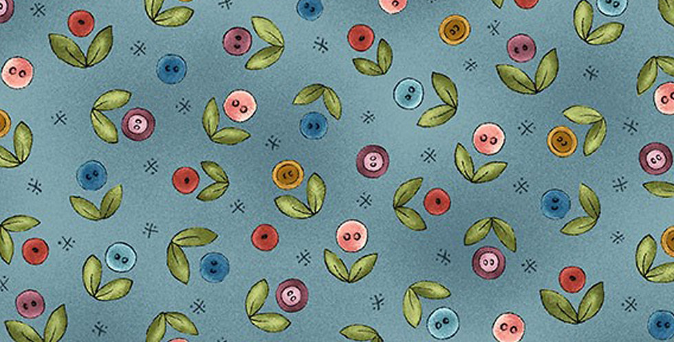 Michael Miller - Button Buds - DC9430-TEAL-D by Jacqueline Paton