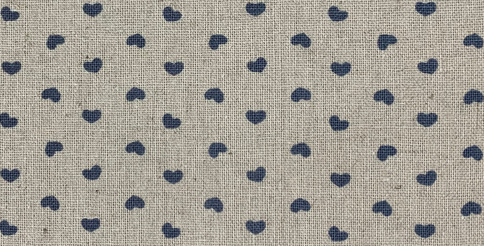 Stof Linen - Beige with Blue Hearts