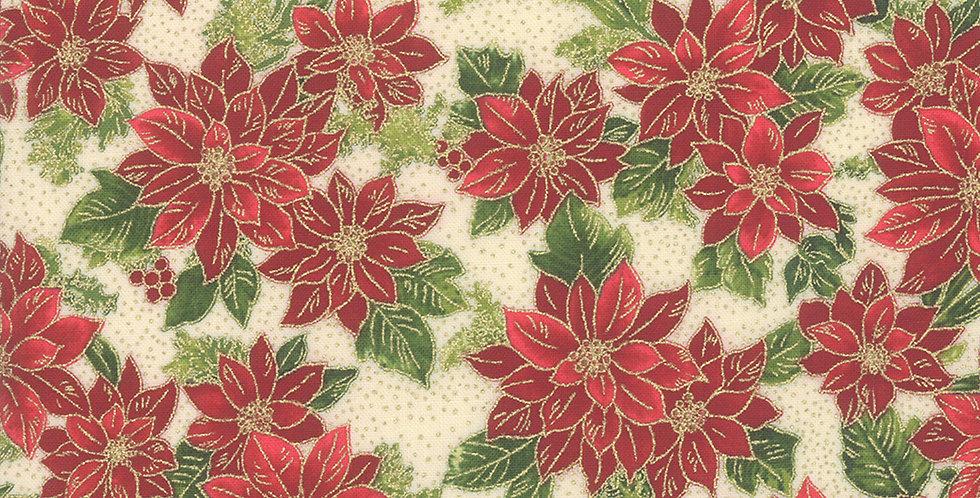 Moda Poinsettias & Pine Metallic - 33513 11M Cream