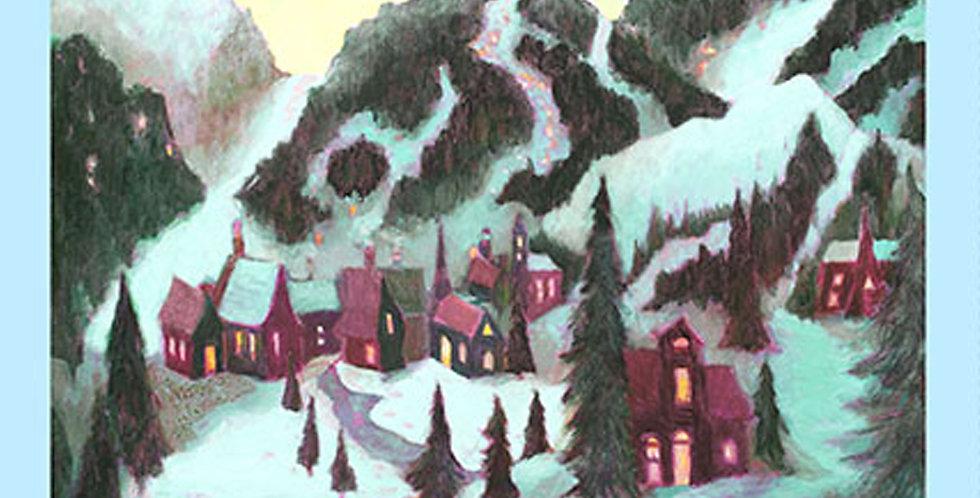 Clothworks Ski Town Y2994-54 Multi Pastel Panel by Karen Gillis Taylor
