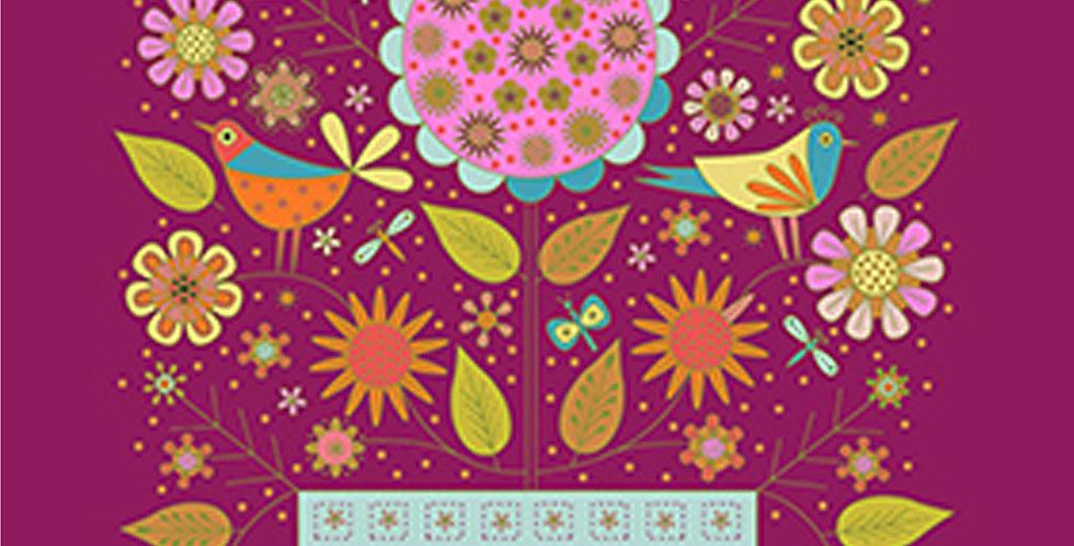 Clothworks Summer Sampler Y2988-47 Light Wine Panel by Nancy Nicholson