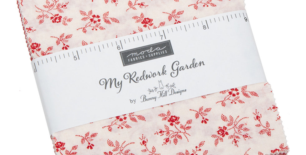 Moda - Charm Pack - My Redwork Garden by Bunny Hill Designs