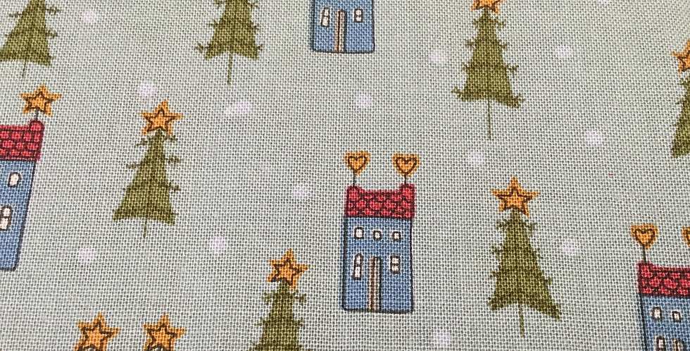 Henry Glass & Co - Home for Christmas - Green with houses 2071-11