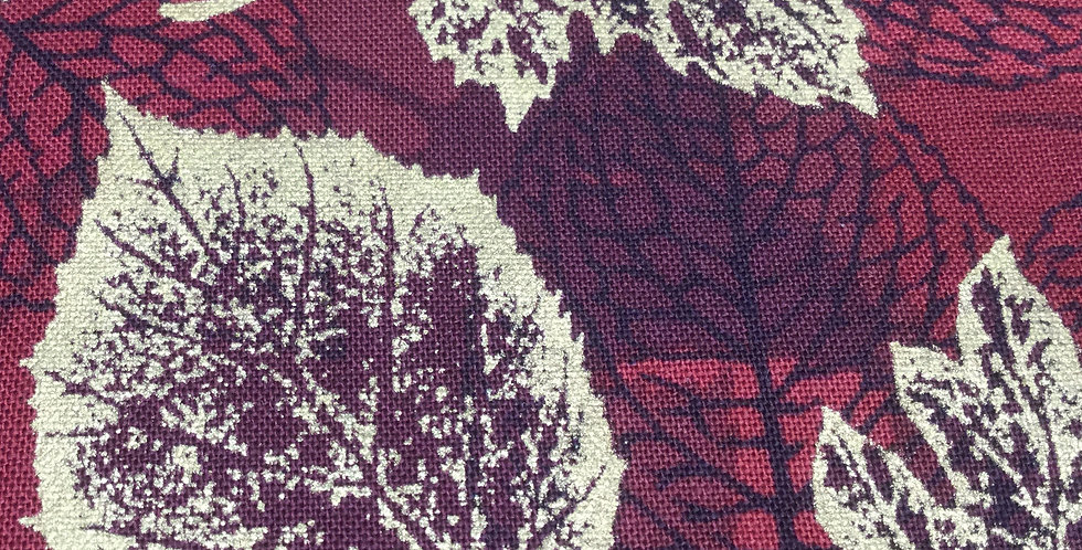 Hoffman - Burgundy Fabric with Gold Leaves