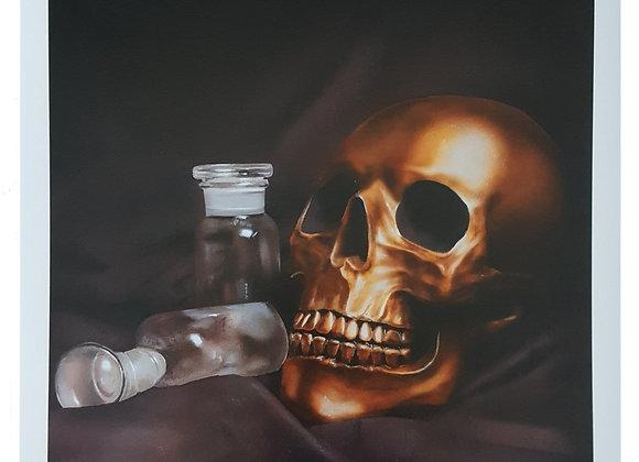 Glass Bottle Skull Large Print