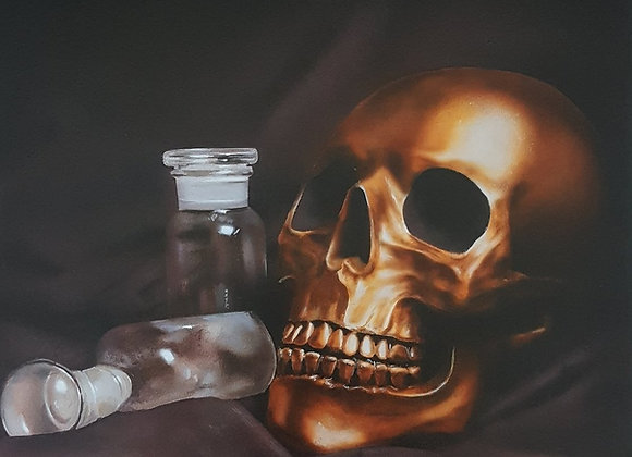 Glass Bottle Skull Painting