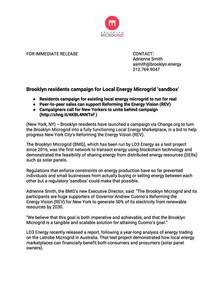 Press Release   Brooklyn Microgrid