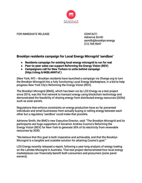Press Release | Brooklyn Microgrid