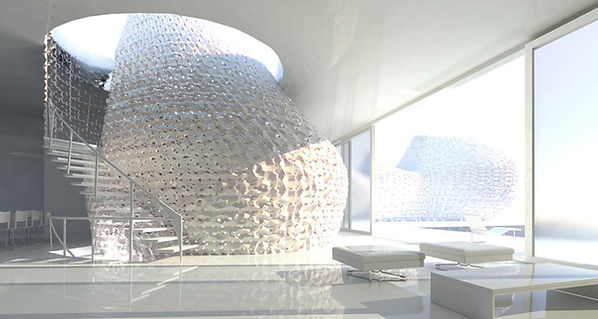 Futurystyczne wykończenie wnętrza, wykonane za pomocą drukarek 3D